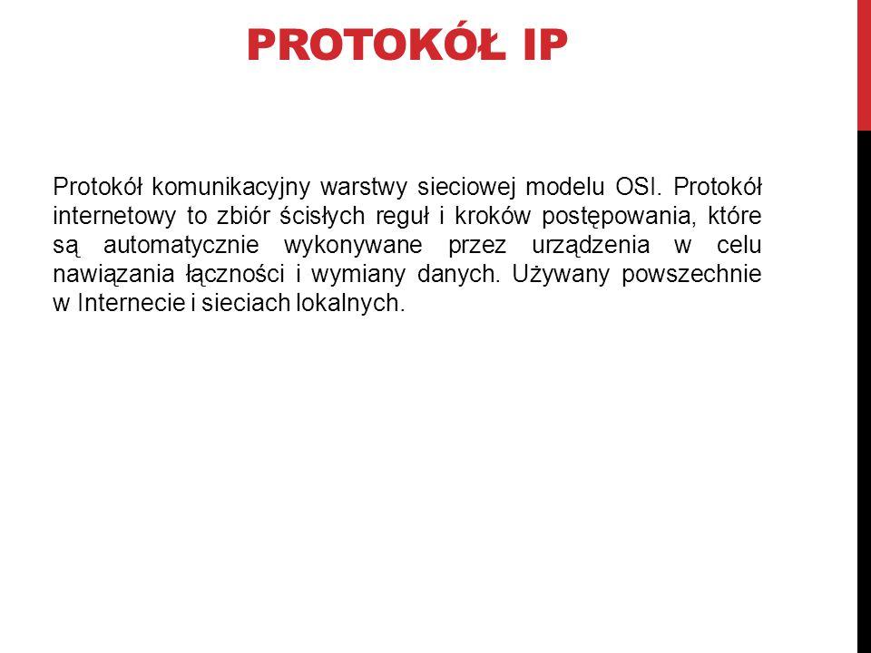 PROTOKÓŁ IP Protokół komunikacyjny warstwy sieciowej modelu OSI.