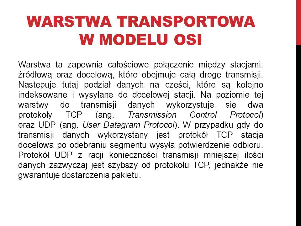 WARSTWA TRANSPORTOWA W MODELU OSI Warstwa ta zapewnia całościowe połączenie między stacjami: źródłową oraz docelową, które obejmuje całą drogę transmisji.