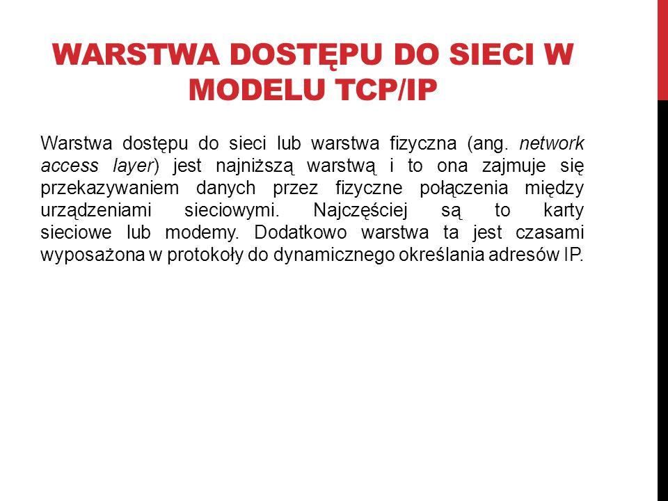 WARSTWA DOSTĘPU DO SIECI W MODELU TCP/IP Warstwa dostępu do sieci lub warstwa fizyczna (ang.