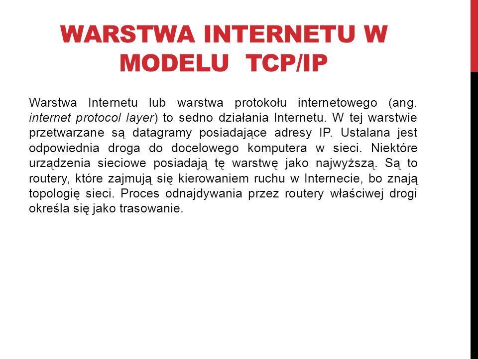 WARSTWA INTERNETU W MODELU TCP/IP Warstwa Internetu lub warstwa protokołu internetowego (ang.
