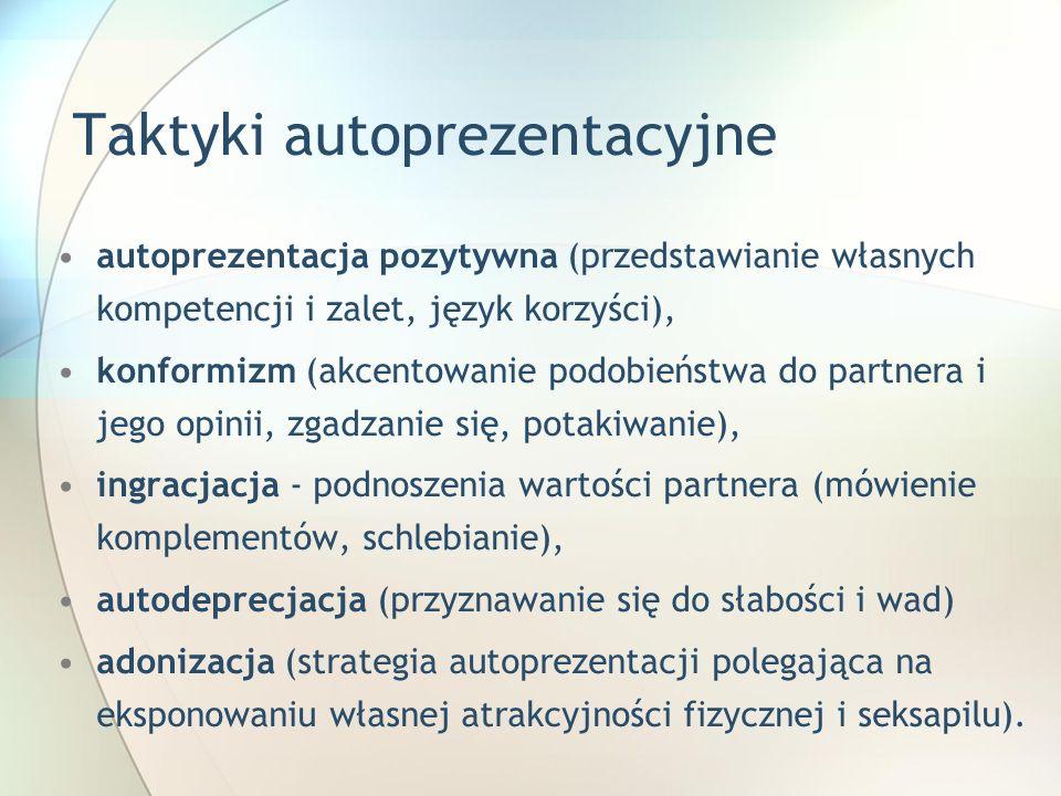 Taktyki autoprezentacyjne autoprezentacja pozytywna (przedstawianie własnych kompetencji i zalet, język korzyści), konformizm (akcentowanie podobieńst