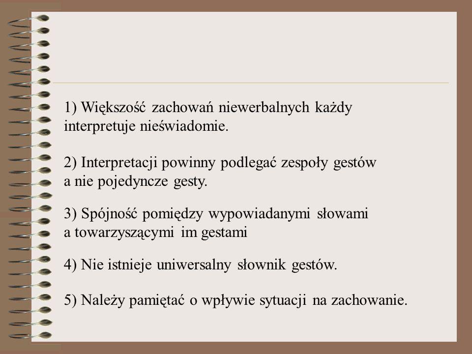 1) Większość zachowań niewerbalnych każdy interpretuje nieświadomie. 2) Interpretacji powinny podlegać zespoły gestów a nie pojedyncze gesty. 3) Spójn
