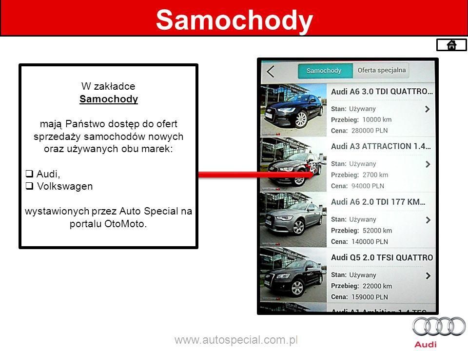 Samochody W zakładce Samochody mają Państwo dostęp do ofert sprzedaży samochodów nowych oraz używanych obu marek: Audi, Volkswagen wystawionych przez