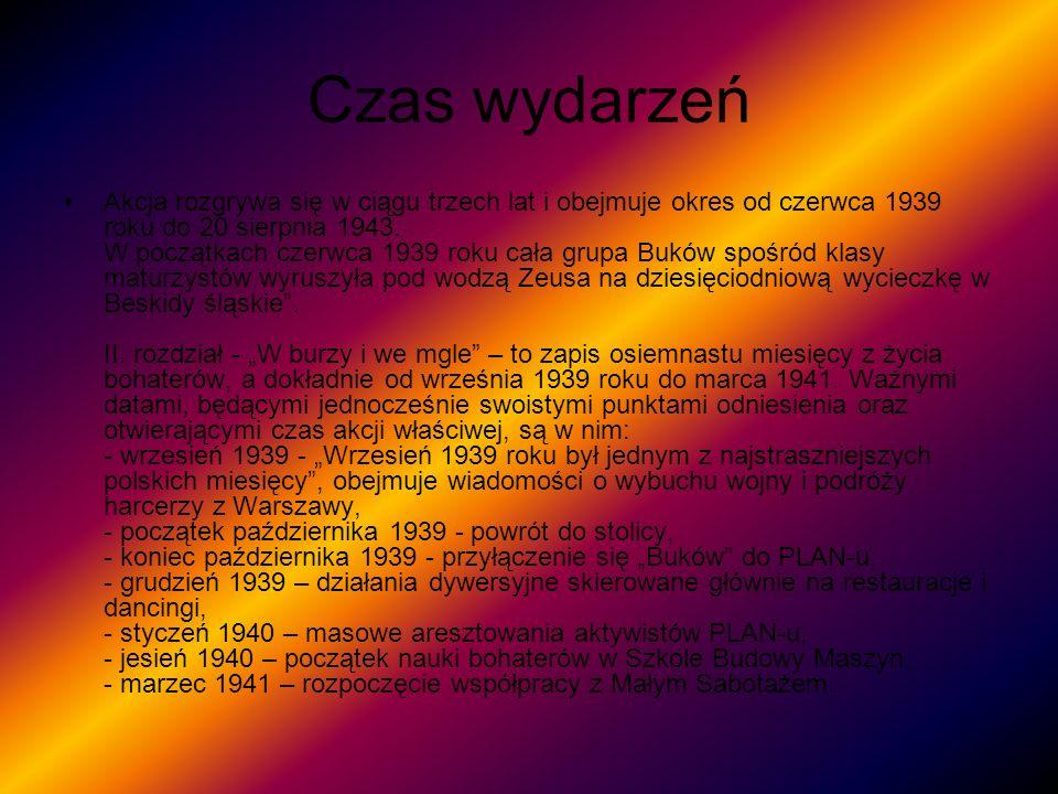 Czas c.d Z kolei rozdział W służbie Małego Sabotażu zamyka okres fabuły między wiosną 1941, a początkiem jesieni 1942 roku: - wiosna 1941 – działania skierowane przeciw fotografom ze stolicy, - 3 maja 1941 – rocznica uchwalenia Konstytucji 3 maja okazją do zawieszanie polskich flag, - 11 listopada 1941 – kolejna historyczna data pretekstem do pisania hasła: Polska zwycięży.