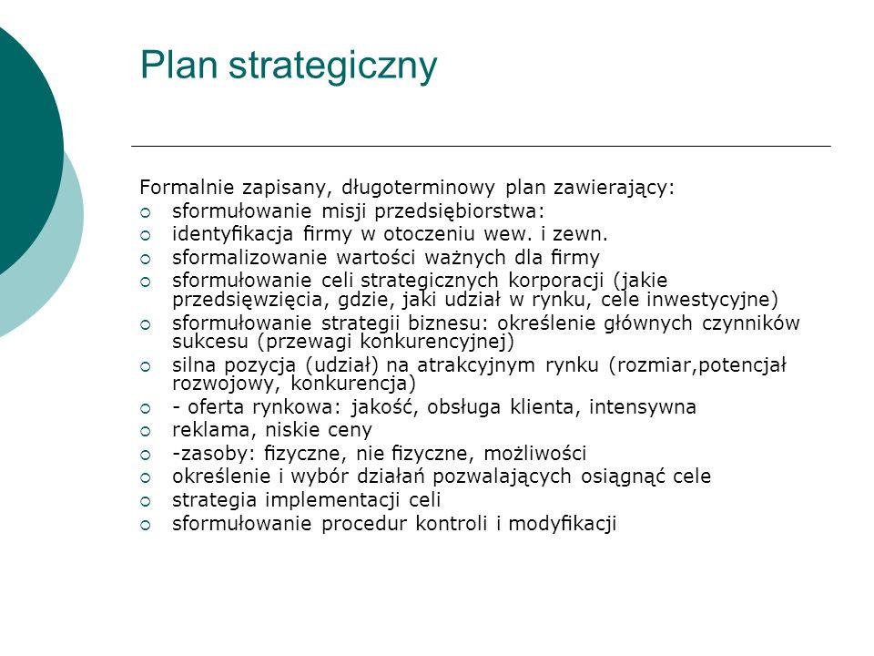 Plan strategiczny Formalnie zapisany, długoterminowy plan zawierający: sformułowanie misji przedsiębiorstwa: identykacja rmy w otoczeniu wew. i zewn.