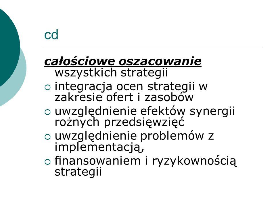 cd całościowe oszacowanie wszystkich strategii integracja ocen strategii w zakresie ofert i zasobów uwzględnienie efektów synergii rożnych przedsięwzi