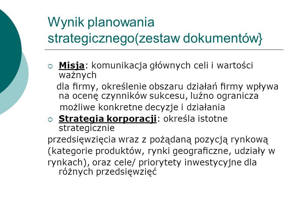 Wynik planowania strategicznego(zestaw dokumentów} Misja: komunikacja głównych celi i wartości ważnych dla rmy, określenie obszaru działań rmy wpływa
