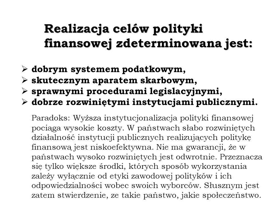 Realizacja celów polityki finansowej zdeterminowana jest: dobrym systemem podatkowym, skutecznym aparatem skarbowym, sprawnymi procedurami legislacyjnymi, dobrze rozwiniętymi instytucjami publicznymi.
