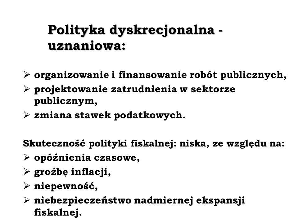 Polityka dyskrecjonalna - uznaniowa: organizowanie i finansowanie robót publicznych, projektowanie zatrudnienia w sektorze publicznym, zmiana stawek podatkowych.