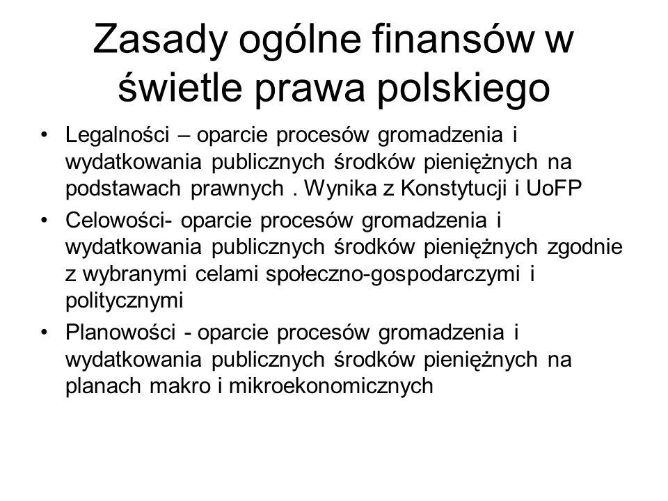 Zasady ogólne finansów w świetle prawa polskiego Legalności – oparcie procesów gromadzenia i wydatkowania publicznych środków pieniężnych na podstawach prawnych.