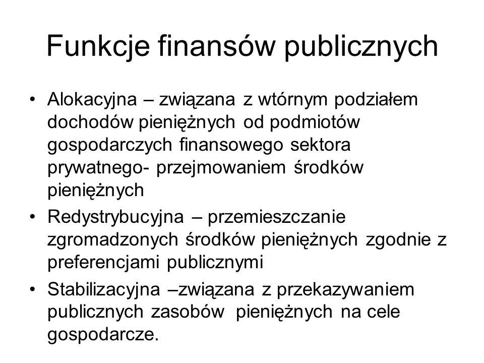 Funkcje finansów publicznych Alokacyjna – związana z wtórnym podziałem dochodów pieniężnych od podmiotów gospodarczych finansowego sektora prywatnego- przejmowaniem środków pieniężnych Redystrybucyjna – przemieszczanie zgromadzonych środków pieniężnych zgodnie z preferencjami publicznymi Stabilizacyjna –związana z przekazywaniem publicznych zasobów pieniężnych na cele gospodarcze.