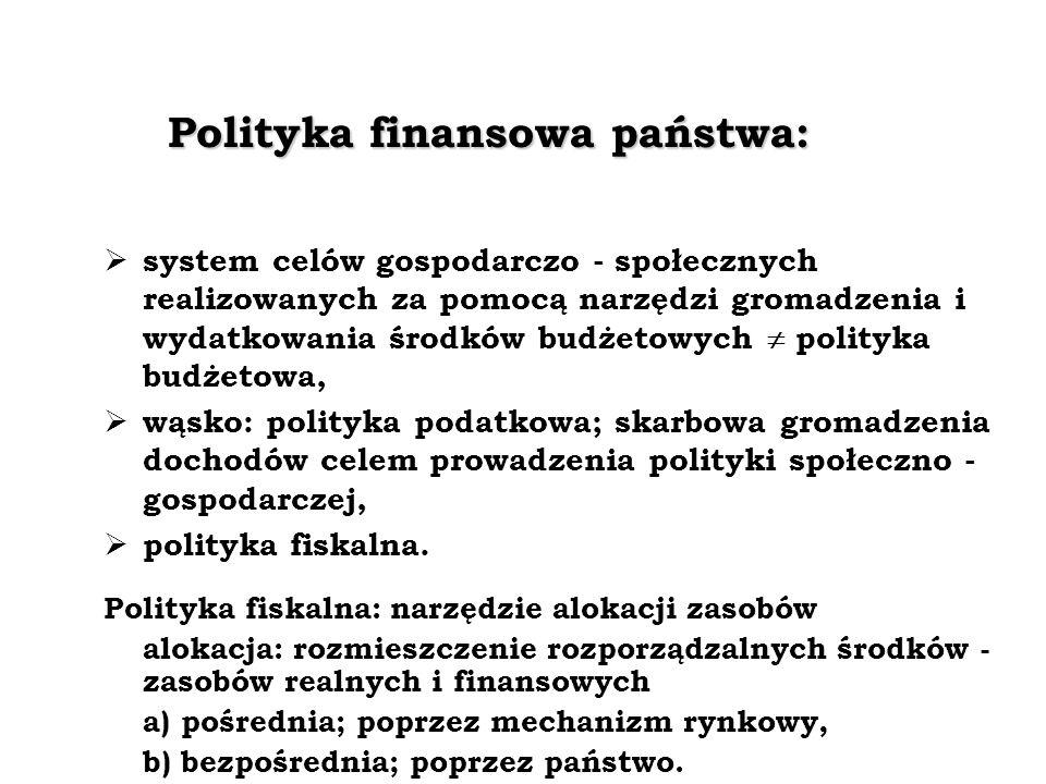 Polityka finansowa państwa: system celów gospodarczo - społecznych realizowanych za pomocą narzędzi gromadzenia i wydatkowania środków budżetowych polityka budżetowa, wąsko: polityka podatkowa; skarbowa gromadzenia dochodów celem prowadzenia polityki społeczno - gospodarczej, polityka fiskalna.