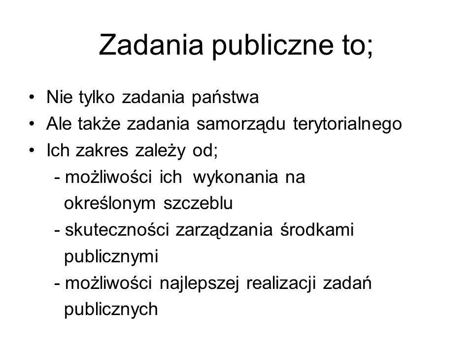 Zadania publiczne to; Nie tylko zadania państwa Ale także zadania samorządu terytorialnego Ich zakres zależy od; - możliwości ich wykonania na określonym szczeblu - skuteczności zarządzania środkami publicznymi - możliwości najlepszej realizacji zadań publicznych
