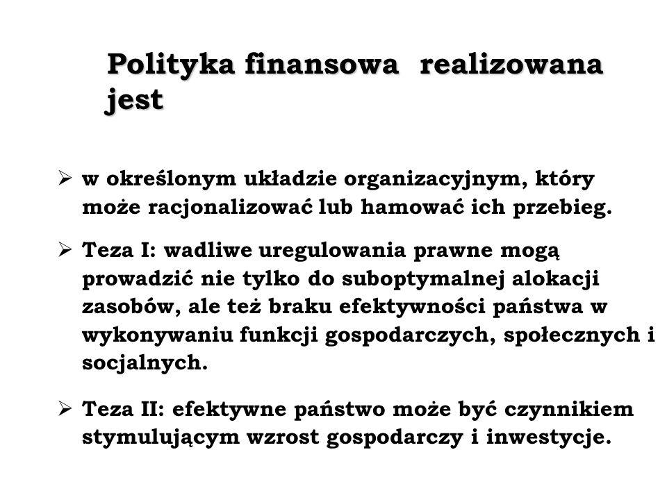 Polityka finansowa realizowana jest w określonym układzie organizacyjnym, który może racjonalizować lub hamować ich przebieg.