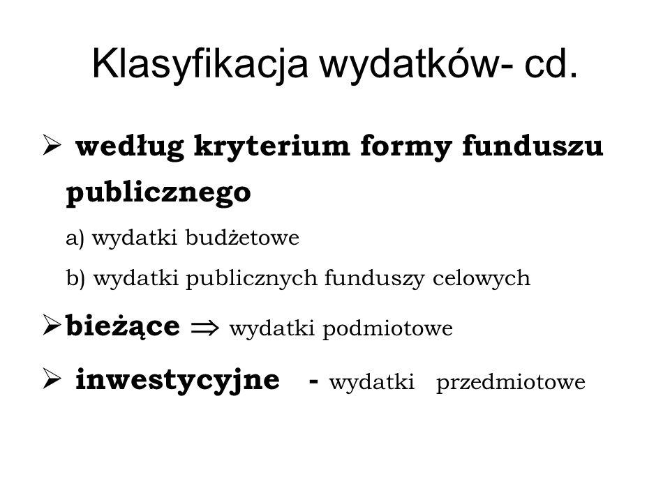 Klasyfikacja wydatków- cd.