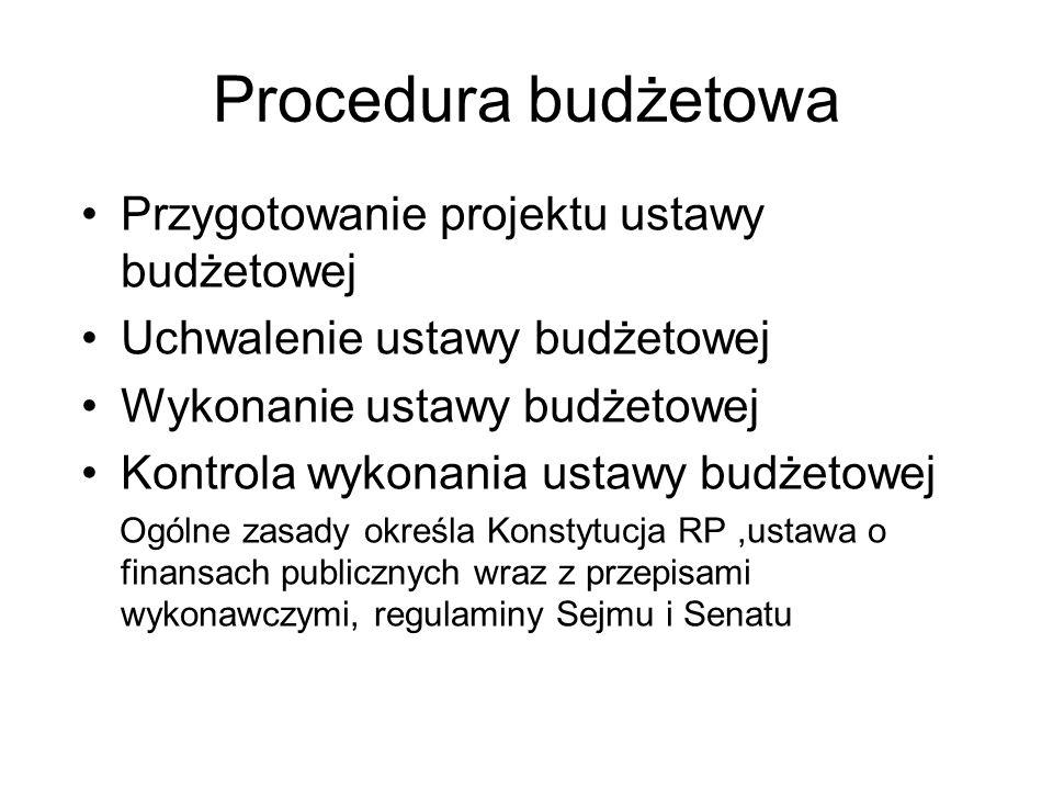 Procedura budżetowa Przygotowanie projektu ustawy budżetowej Uchwalenie ustawy budżetowej Wykonanie ustawy budżetowej Kontrola wykonania ustawy budżetowej Ogólne zasady określa Konstytucja RP,ustawa o finansach publicznych wraz z przepisami wykonawczymi, regulaminy Sejmu i Senatu