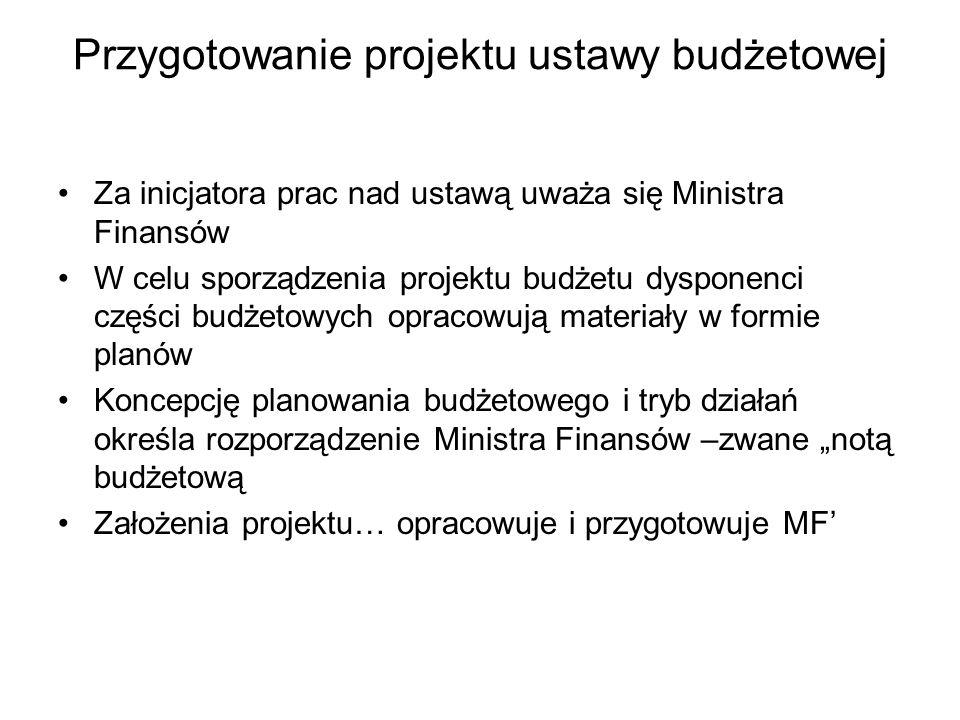 Przygotowanie projektu ustawy budżetowej Za inicjatora prac nad ustawą uważa się Ministra Finansów W celu sporządzenia projektu budżetu dysponenci części budżetowych opracowują materiały w formie planów Koncepcję planowania budżetowego i tryb działań określa rozporządzenie Ministra Finansów –zwane notą budżetową Założenia projektu… opracowuje i przygotowuje MF