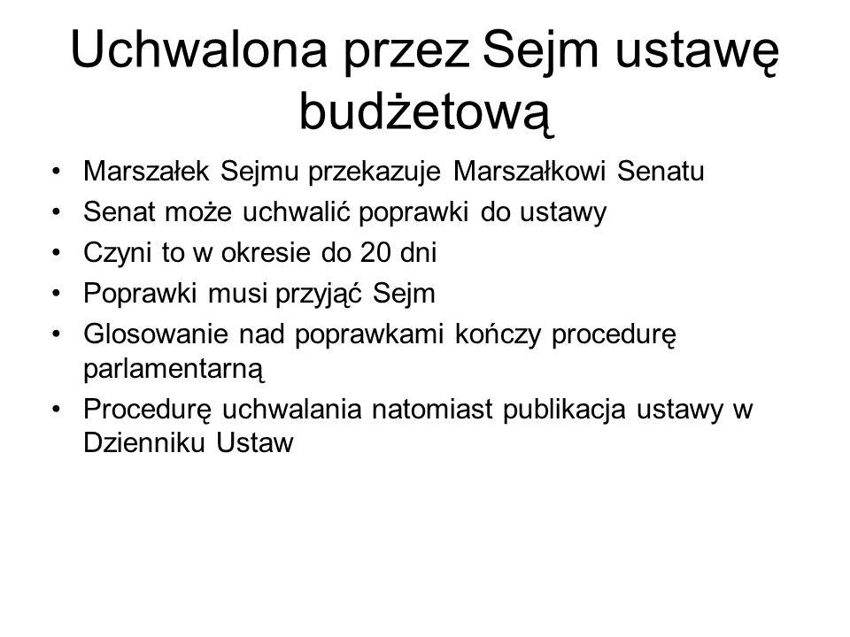 Uchwalona przez Sejm ustawę budżetową Marszałek Sejmu przekazuje Marszałkowi Senatu Senat może uchwalić poprawki do ustawy Czyni to w okresie do 20 dni Poprawki musi przyjąć Sejm Glosowanie nad poprawkami kończy procedurę parlamentarną Procedurę uchwalania natomiast publikacja ustawy w Dzienniku Ustaw