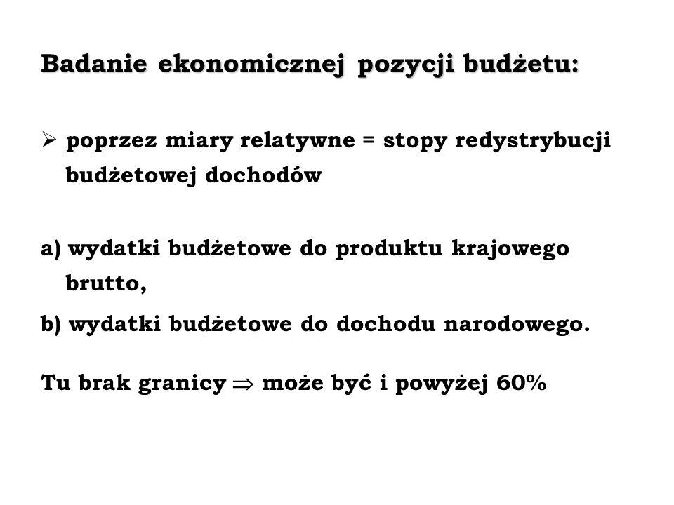 Badanie ekonomicznej pozycji budżetu: poprzez miary relatywne = stopy redystrybucji budżetowej dochodów a) wydatki budżetowe do produktu krajowego bru
