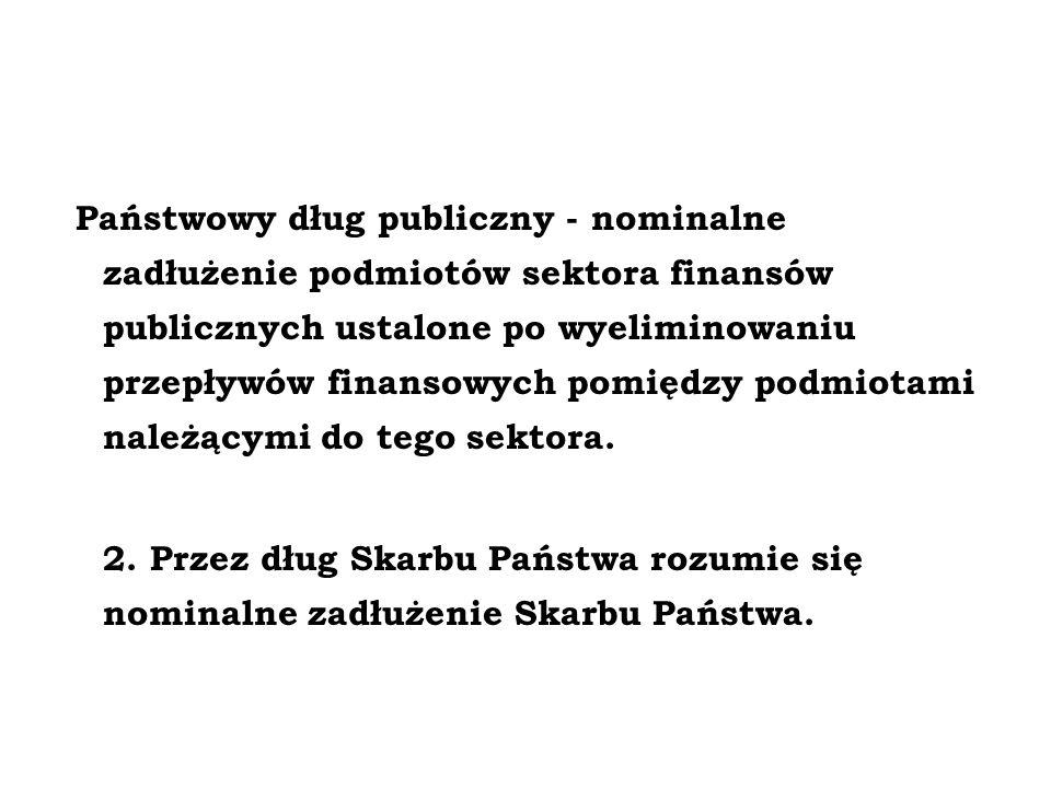 Państwowy dług publiczny - nominalne zadłużenie podmiotów sektora finansów publicznych ustalone po wyeliminowaniu przepływów finansowych pomiędzy podm