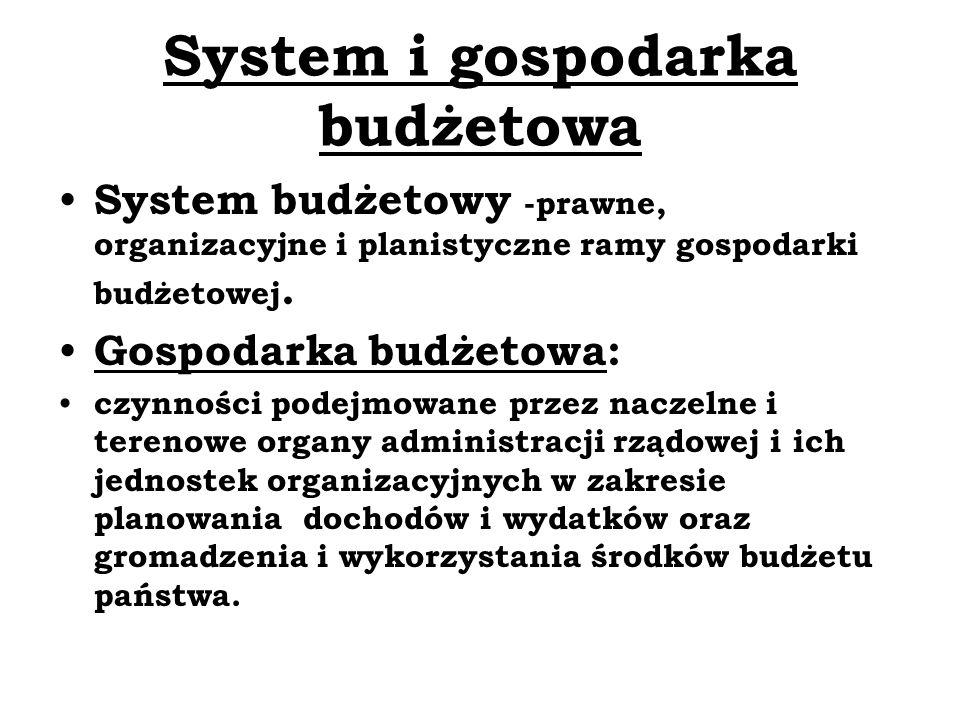 System i gospodarka budżetowa System budżetowy -prawne, organizacyjne i planistyczne ramy gospodarki budżetowej. Gospodarka budżetowa: czynności podej