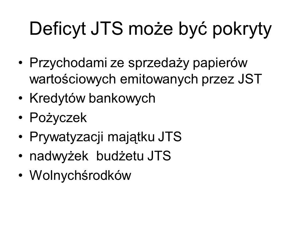 Deficyt JTS może być pokryty Przychodami ze sprzedaży papierów wartościowych emitowanych przez JST Kredytów bankowych Pożyczek Prywatyzacji majątku JT
