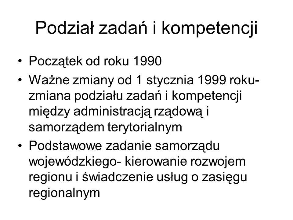 Podział zadań i kompetencji Początek od roku 1990 Ważne zmiany od 1 stycznia 1999 roku- zmiana podziału zadań i kompetencji między administracją rządo