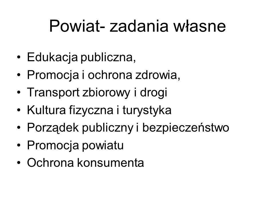 Powiat- zadania własne Edukacja publiczna, Promocja i ochrona zdrowia, Transport zbiorowy i drogi Kultura fizyczna i turystyka Porządek publiczny i be