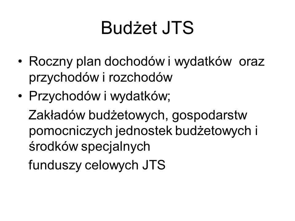 Budżet JTS Roczny plan dochodów i wydatków oraz przychodów i rozchodów Przychodów i wydatków; Zakładów budżetowych, gospodarstw pomocniczych jednostek