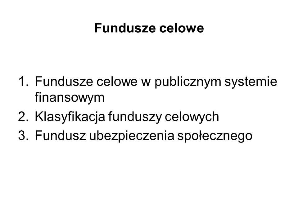 Fundusze celowe 1.Fundusze celowe w publicznym systemie finansowym 2.Klasyfikacja funduszy celowych 3.Fundusz ubezpieczenia społecznego