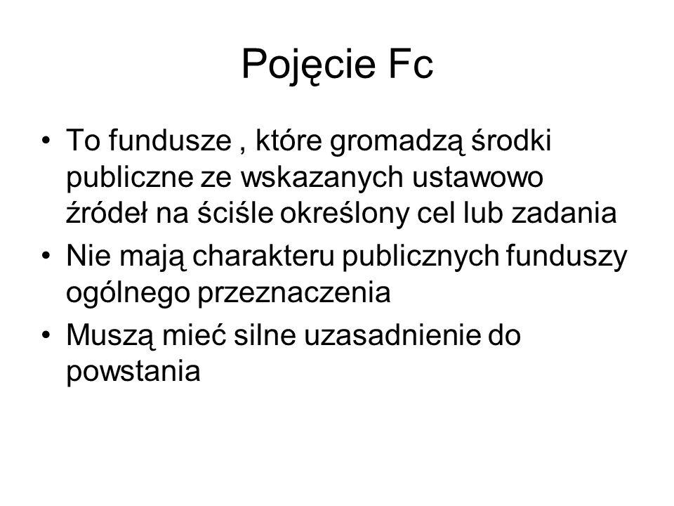 Pojęcie Fc To fundusze, które gromadzą środki publiczne ze wskazanych ustawowo źródeł na ściśle określony cel lub zadania Nie mają charakteru publiczn