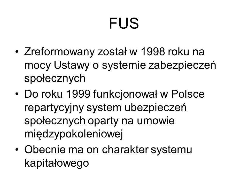 FUS Zreformowany został w 1998 roku na mocy Ustawy o systemie zabezpieczeń społecznych Do roku 1999 funkcjonował w Polsce repartycyjny system ubezpiec