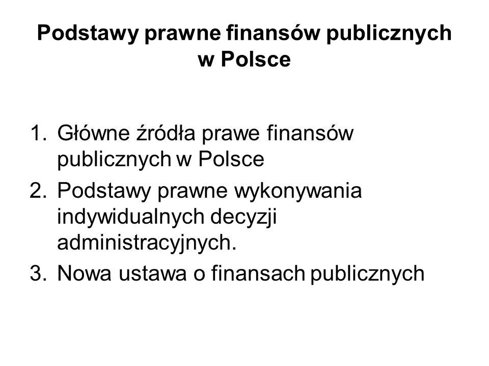 Funkcjonowanie finansów publicznych Opiera się na podstawach prawnych wynikających ze źródeł powszechnie obowiązującego prawa danego państwa W Polsce określa je aktualnie Konstytucja RP z 1997 roku A także ustawy konstytucyjne i zwykłe Ratyfikowane przez Polskę umowy międzynarodowe Rozporządzenia organów władzy wykonawczej