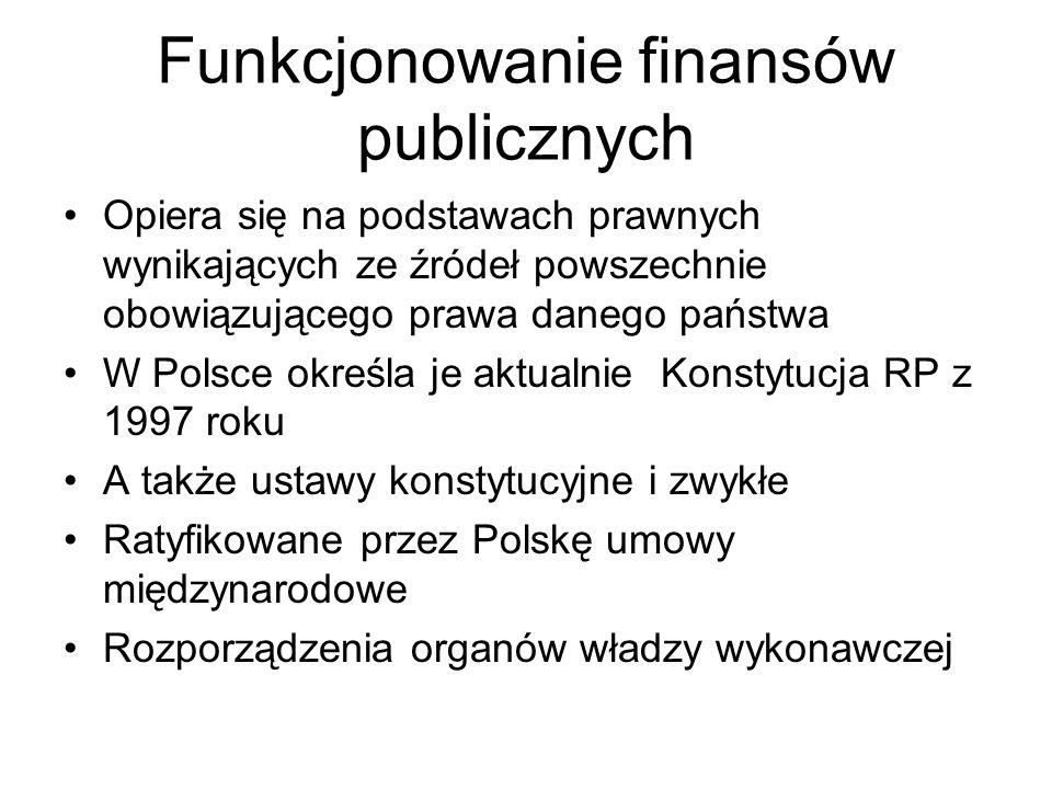 Funkcjonowanie finansów publicznych Opiera się na podstawach prawnych wynikających ze źródeł powszechnie obowiązującego prawa danego państwa W Polsce
