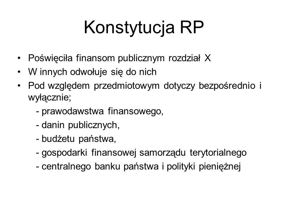 Konstytucja RP Poświęciła finansom publicznym rozdział X W innych odwołuje się do nich Pod względem przedmiotowym dotyczy bezpośrednio i wyłącznie; -
