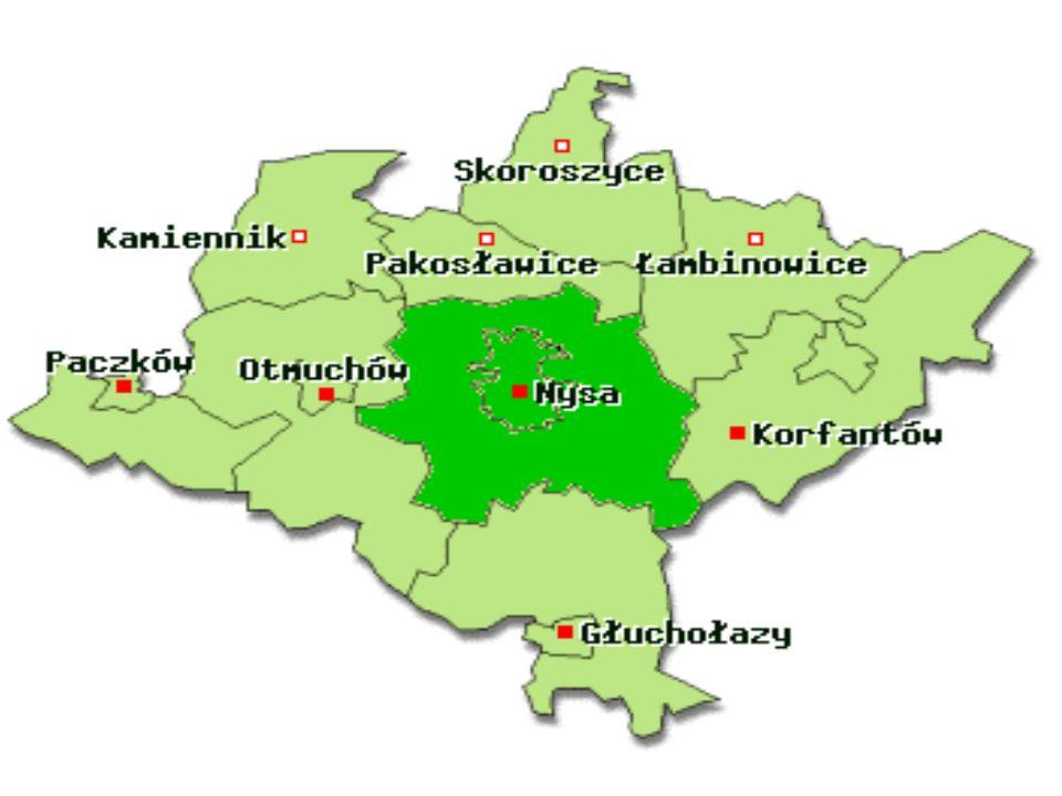Na terenie powiatu nyskiego, liczącego 1224 km 2 powierzchni i zamieszkałego przez ok.