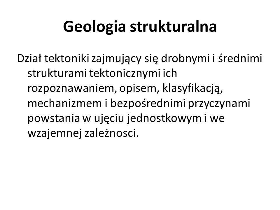 Geologia strukturalna Dział tektoniki zajmujący się drobnymi i średnimi strukturami tektonicznymi ich rozpoznawaniem, opisem, klasyfikacją, mechanizme