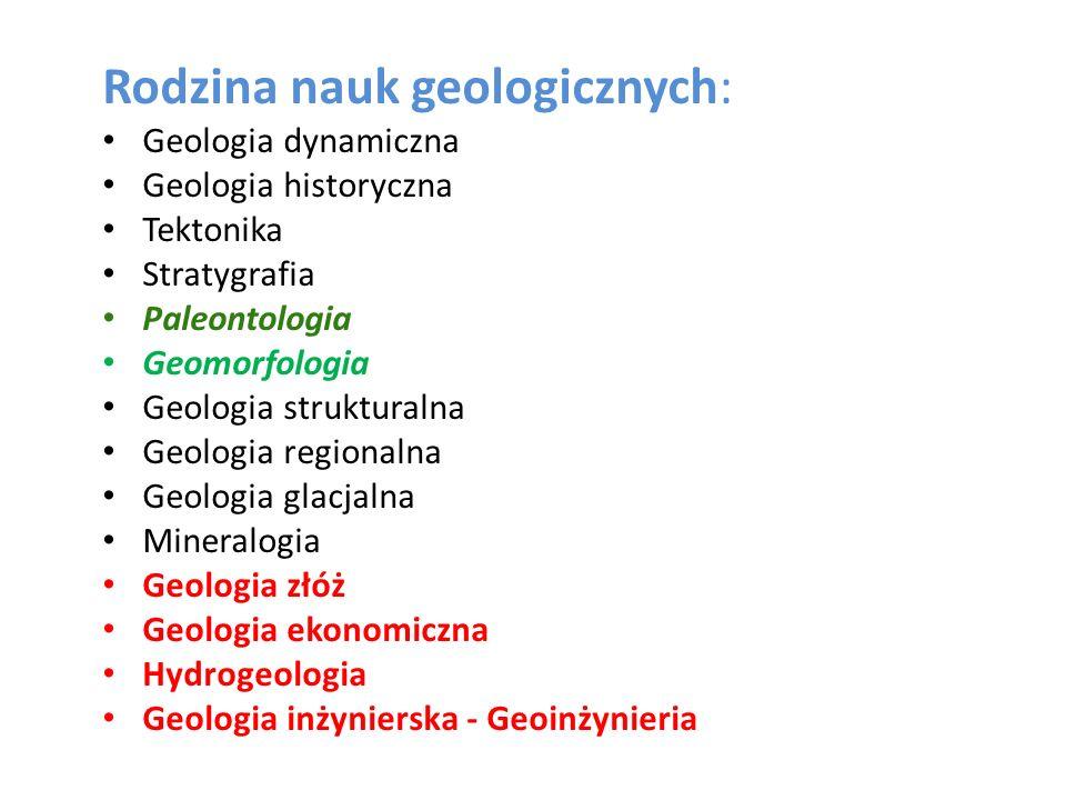 Rodzina nauk geologicznych: Geologia dynamiczna Geologia historyczna Tektonika Stratygrafia Paleontologia Geomorfologia Geologia strukturalna Geologia