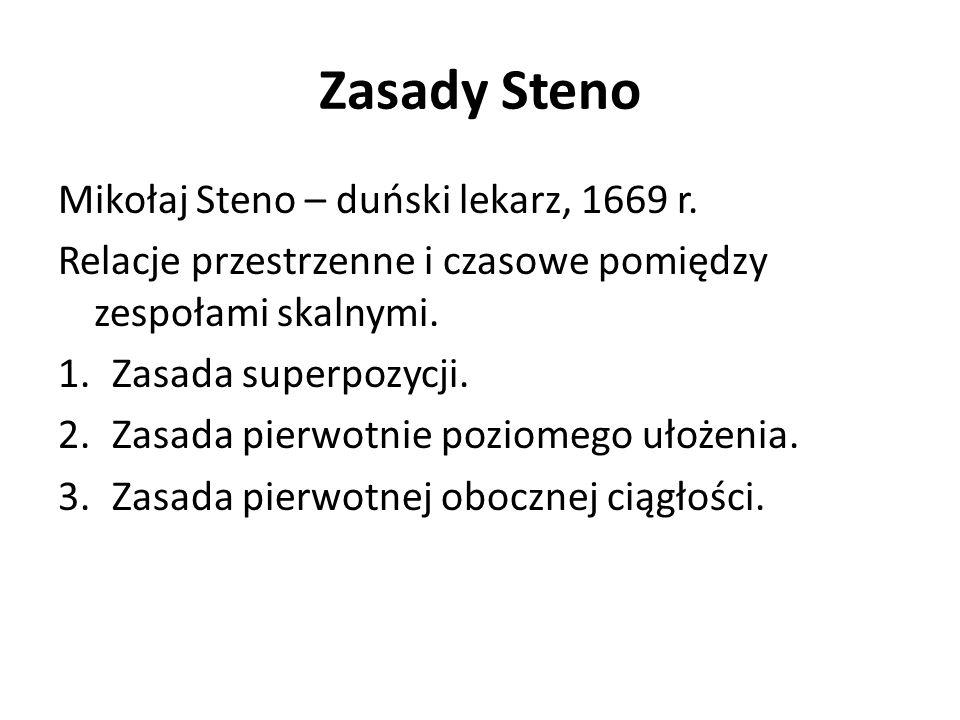 Zasady Steno Mikołaj Steno – duński lekarz, 1669 r. Relacje przestrzenne i czasowe pomiędzy zespołami skalnymi. 1.Zasada superpozycji. 2.Zasada pierwo