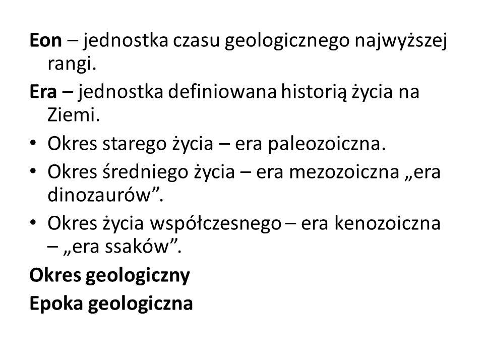 Eon – jednostka czasu geologicznego najwyższej rangi. Era – jednostka definiowana historią życia na Ziemi. Okres starego życia – era paleozoiczna. Okr
