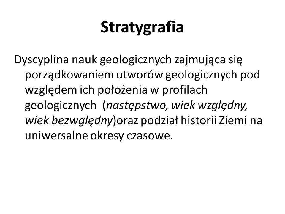 Stratygrafia Dyscyplina nauk geologicznych zajmująca się porządkowaniem utworów geologicznych pod względem ich położenia w profilach geologicznych (na