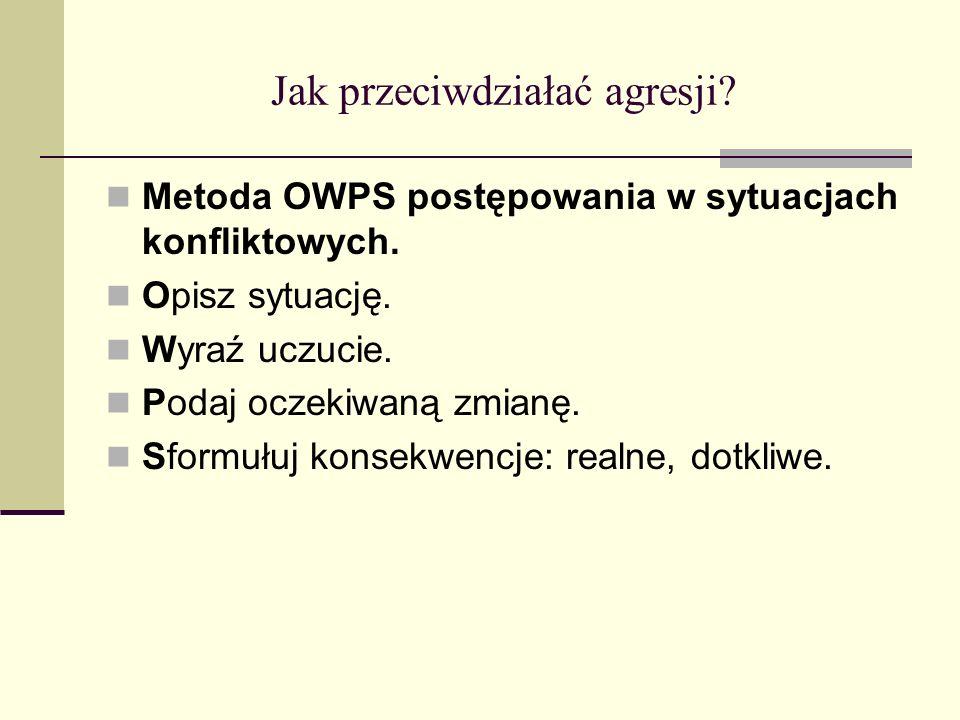Jak przeciwdziałać agresji.Metoda OWPS postępowania w sytuacjach konfliktowych.