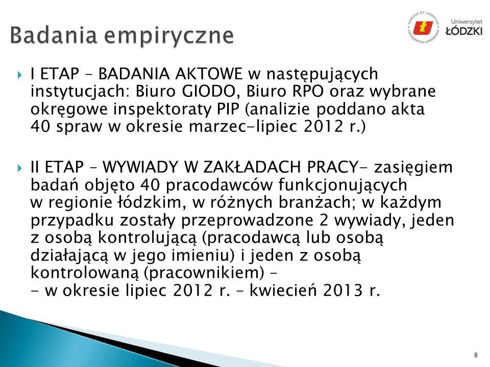 I ETAP – BADANIA AKTOWE w następujących instytucjach: Biuro GIODO, Biuro RPO oraz wybrane okręgowe inspektoraty PIP (analizie poddano akta 40 spraw w