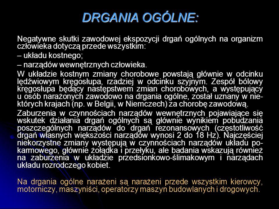 DRGANIA OGÓLNE: Negatywne skutki zawodowej ekspozycji drgań ogólnych na organizm człowieka dotyczą przede wszystkim: – układu kostnego; – narządów wew