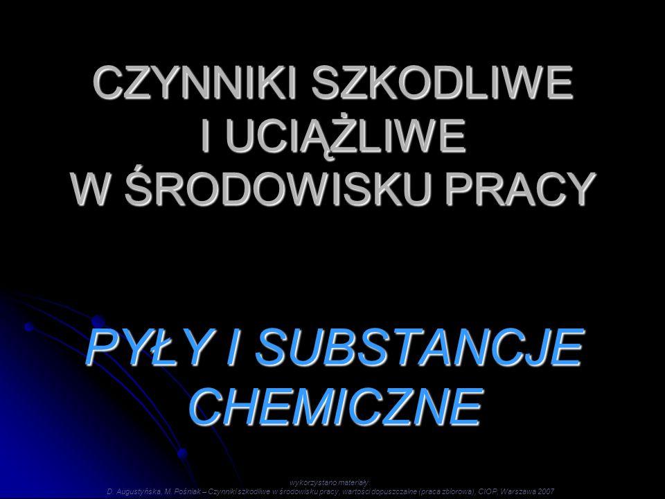 CZYNNIKI SZKODLIWE I UCIĄŻLIWE W ŚRODOWISKU PRACY PYŁY I SUBSTANCJE CHEMICZNE wykorzystano materiały: D.