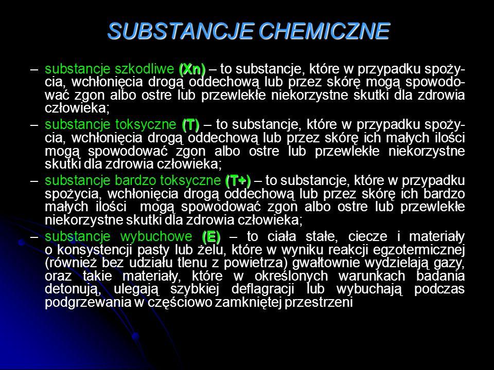 SUBSTANCJE CHEMICZNE (Xn) –substancje szkodliwe (Xn) – to substancje, które w przypadku spoży- cia, wchłonięcia drogą oddechową lub przez skórę mogą spowodo- wać zgon albo ostre lub przewlekłe niekorzystne skutki dla zdrowia człowieka; (T) –substancje toksyczne (T) – to substancje, które w przypadku spoży- cia, wchłonięcia drogą oddechową lub przez skórę ich małych ilości mogą spowodować zgon albo ostre lub przewlekłe niekorzystne skutki dla zdrowia człowieka; (T+) –substancje bardzo toksyczne (T+) – to substancje, które w przypadku spożycia, wchłonięcia drogą oddechową lub przez skórę ich bardzo małych ilości mogą spowodować zgon albo ostre lub przewlekłe niekorzystne skutki dla zdrowia człowieka; (E) –substancje wybuchowe (E) – to ciała stałe, ciecze i materiały o konsystencji pasty lub żelu, które w wyniku reakcji egzotermicznej (również bez udziału tlenu z powietrza) gwałtownie wydzielają gazy, oraz takie materiały, które w określonych warunkach badania detonują, ulegają szybkiej deflagracji lub wybuchają podczas podgrzewania w częściowo zamkniętej przestrzeni