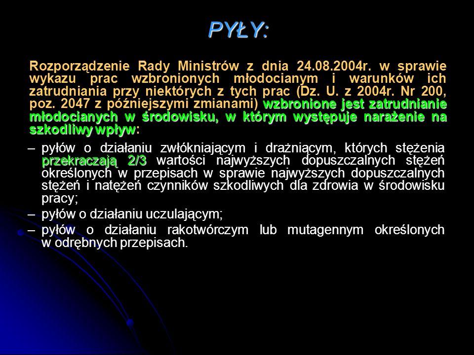 PYŁY: wzbronione jest zatrudnianie młodocianych w środowisku, w którym występuje narażenie na szkodliwy wpływ Rozporządzenie Rady Ministrów z dnia 24.08.2004r.