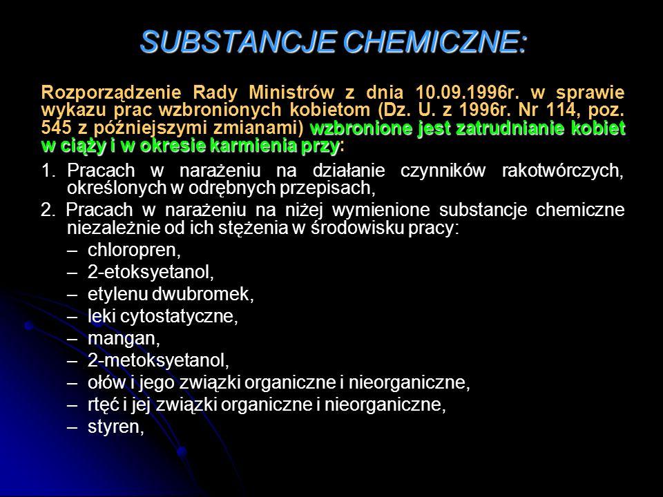SUBSTANCJE CHEMICZNE: wzbronione jest zatrudnianie kobiet w ciąży i w okresie karmienia przy Rozporządzenie Rady Ministrów z dnia 10.09.1996r.