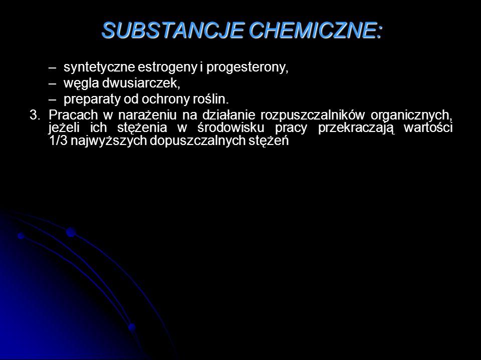 SUBSTANCJE CHEMICZNE: – syntetyczne estrogeny i progesterony, – węgla dwusiarczek, – preparaty od ochrony roślin.