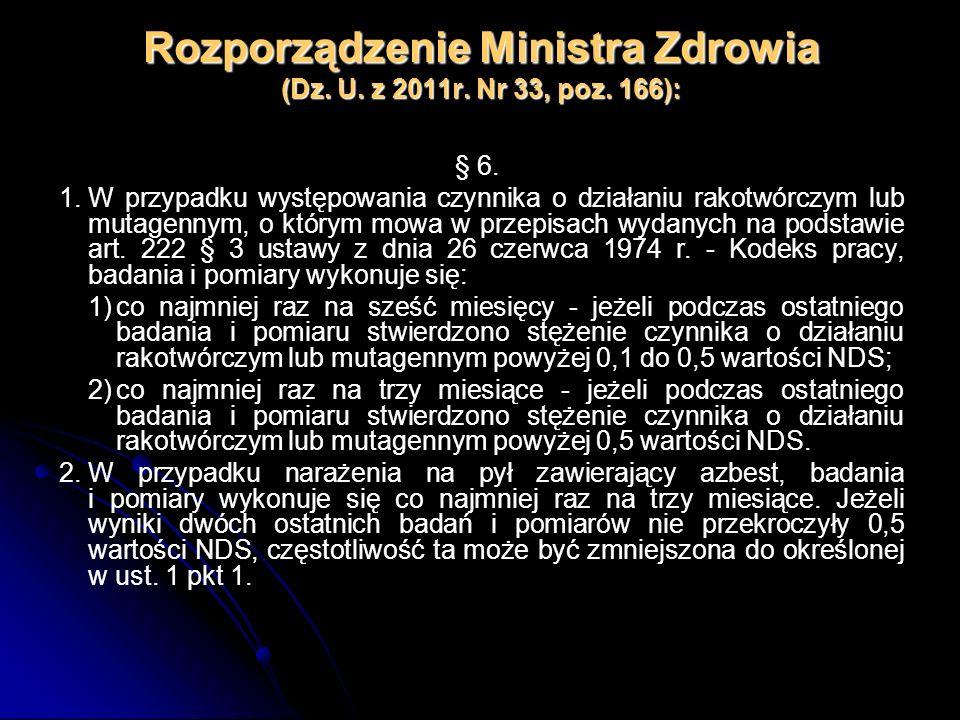 Rozporządzenie Ministra Zdrowia (Dz. U. z 2011r. Nr 33, poz. 166): § 6. 1.W przypadku występowania czynnika o działaniu rakotwórczym lub mutagennym, o